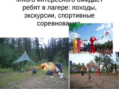 Много интересного ожидает ребят в лагере: походы, экскурсии, спортивные сорев...