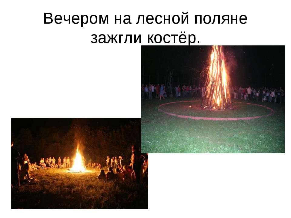 Вечером на лесной поляне зажгли костёр.