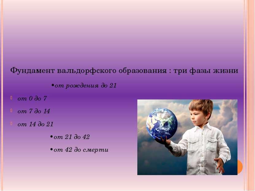 Фундамент вальдорфского образования : три фазы жизни •от рождения до 21 от 0 ...