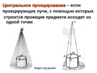 Центральное проецирование – если проецирующие лучи, с помощью которых строитс...