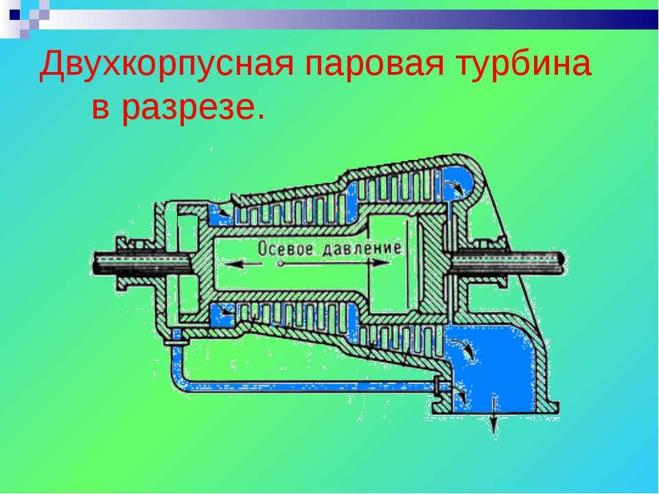 Двухкорпусная паровая турбина в разрезе.
