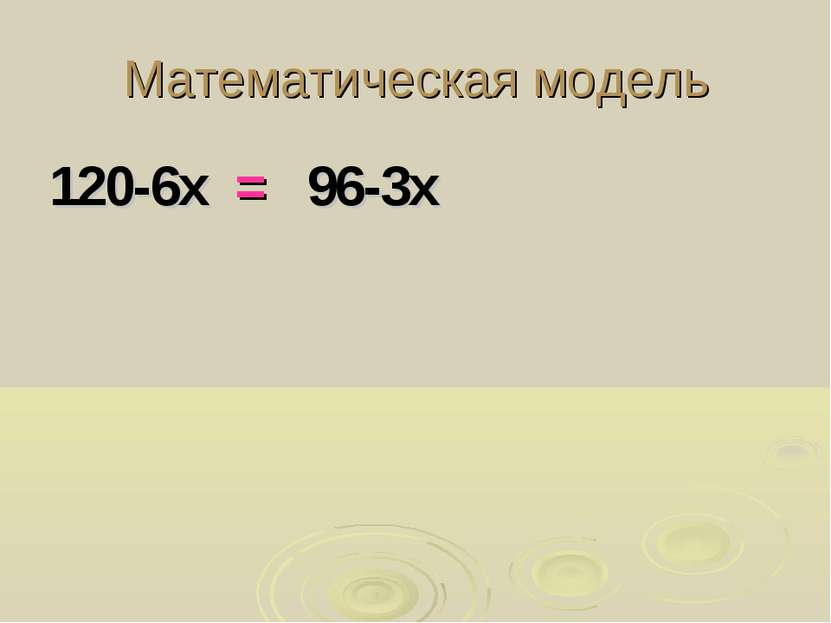 Математическая модель 120-6х = 96-3х