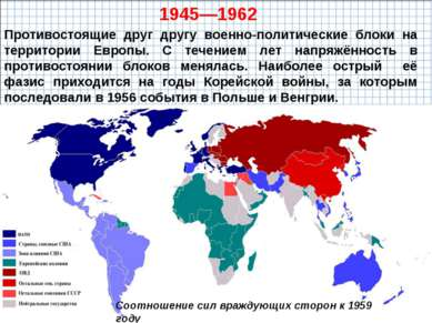 Противостоящие друг другу военно-политические блоки на территории Европы. С т...