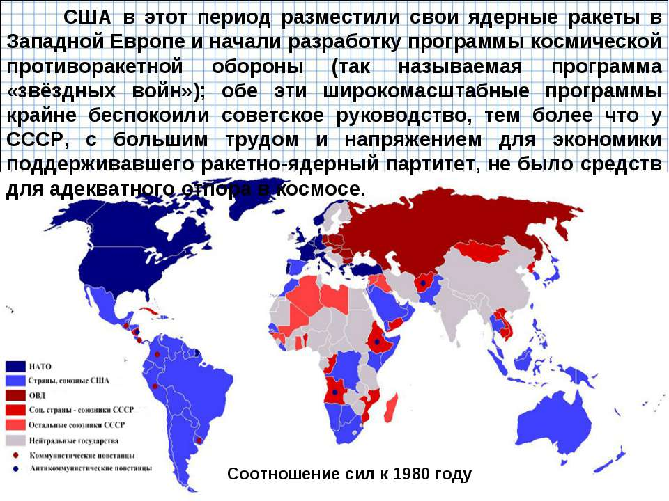 Соотношение сил к 1980 году США в этот период разместили свои ядерные ракеты ...