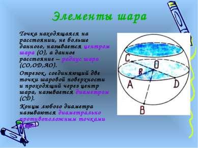 Элементы шара Точка находящаяся на расстоянии, не больше данного, называется ...