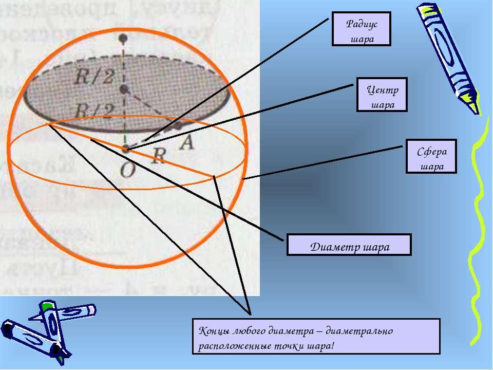 Центр шара Радиус шара Сфера шара Диаметр шара