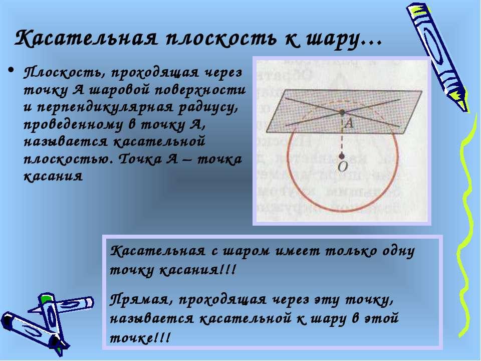 Касательная плоскость к шару… Плоскость, проходящая через точку А шаровой пов...