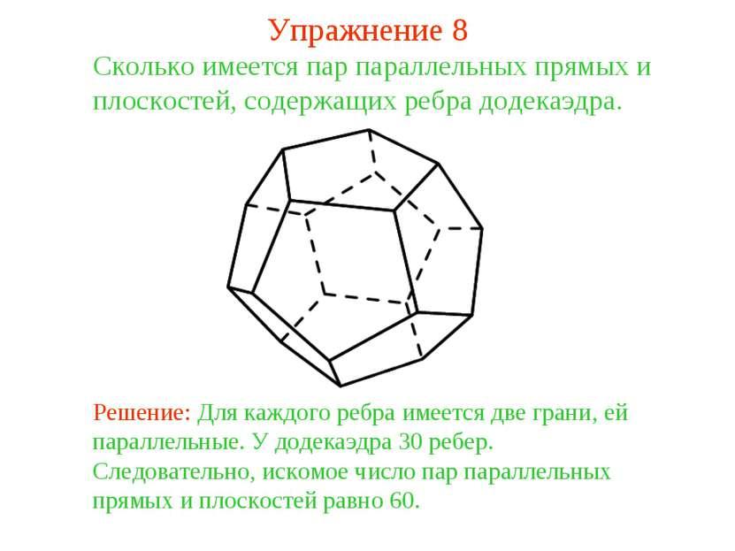Сколько имеется пар параллельных прямых и плоскостей, содержащих ребра додека...
