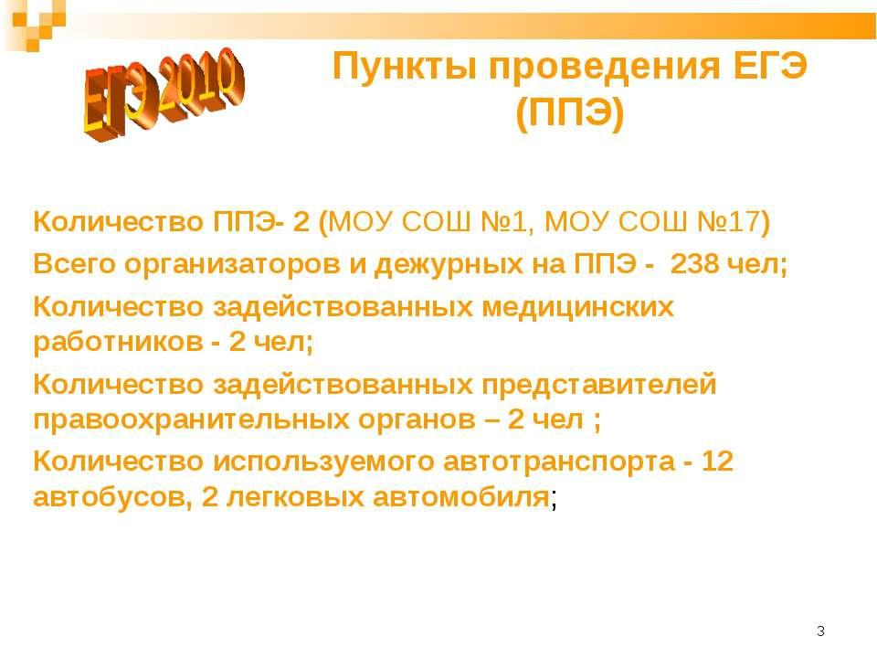 * Пункты проведения ЕГЭ (ППЭ) Количество ППЭ- 2 (МОУ СОШ №1, МОУ СОШ №17) Все...
