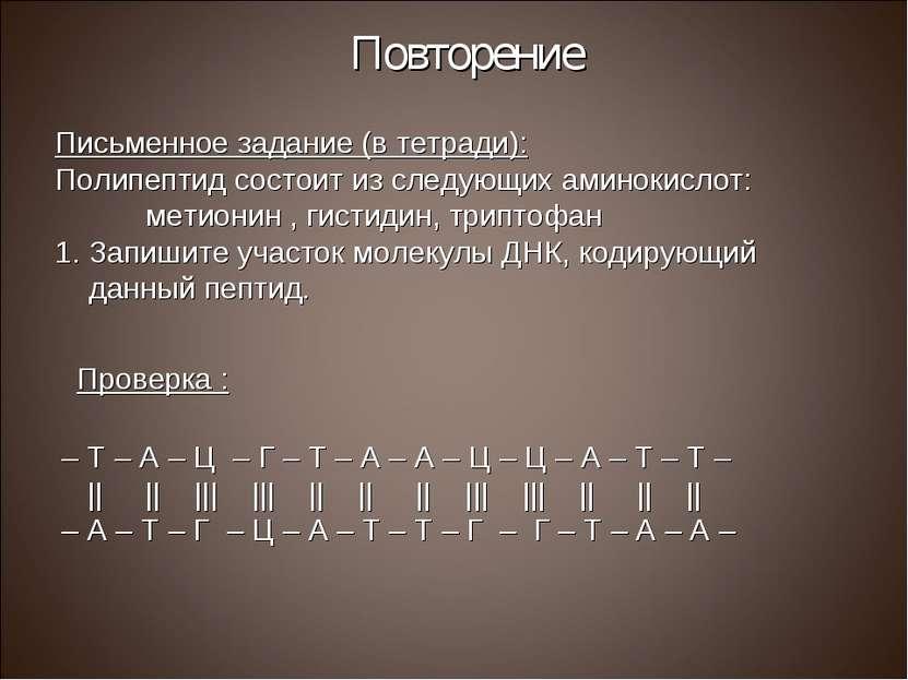 Повторение Письменное задание (в тетради): Полипептид состоит из следующих ам...