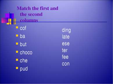 Match the first and the second columns cof ba but choco che pud ding late ese...