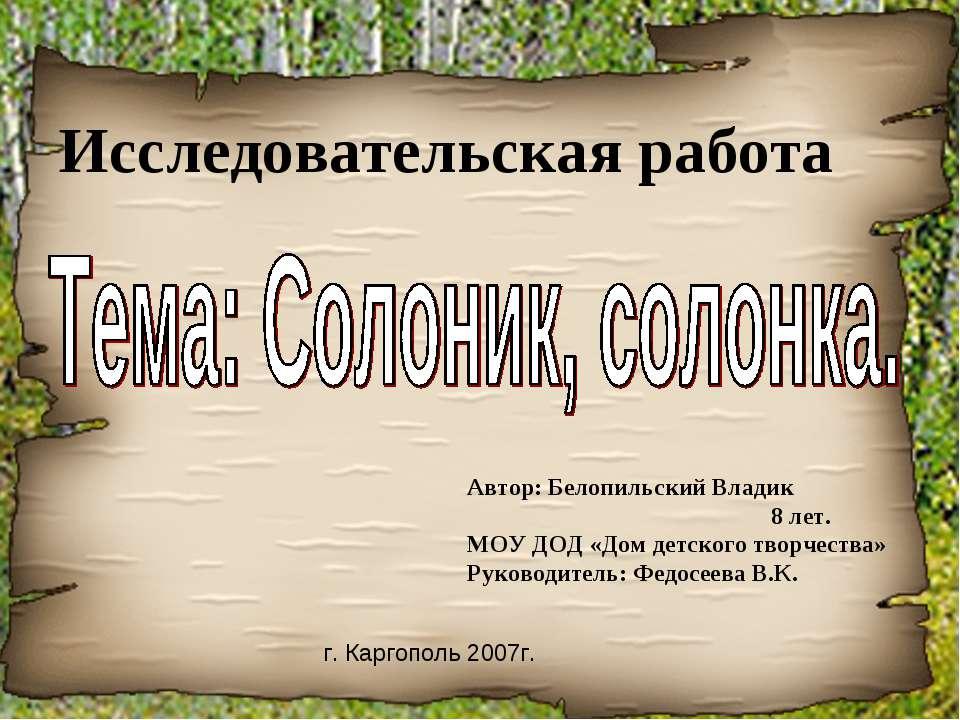 Исследовательская работа Автор: Белопильский Владик 8 лет. МОУ ДОД «Дом детск...