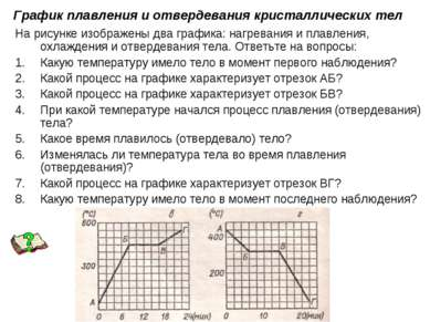 График плавления и отвердевания кристаллических тел На рисунке изображены два...