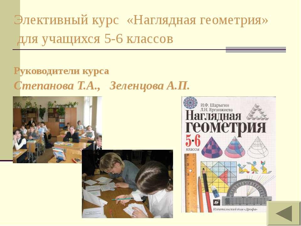 Элективный курс «Наглядная геометрия» для учащихся 5-6 классов Руководители к...