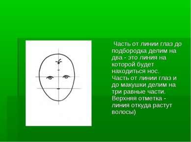 Часть от линии глаз до подбородка делим на два - это линия на которой будет н...