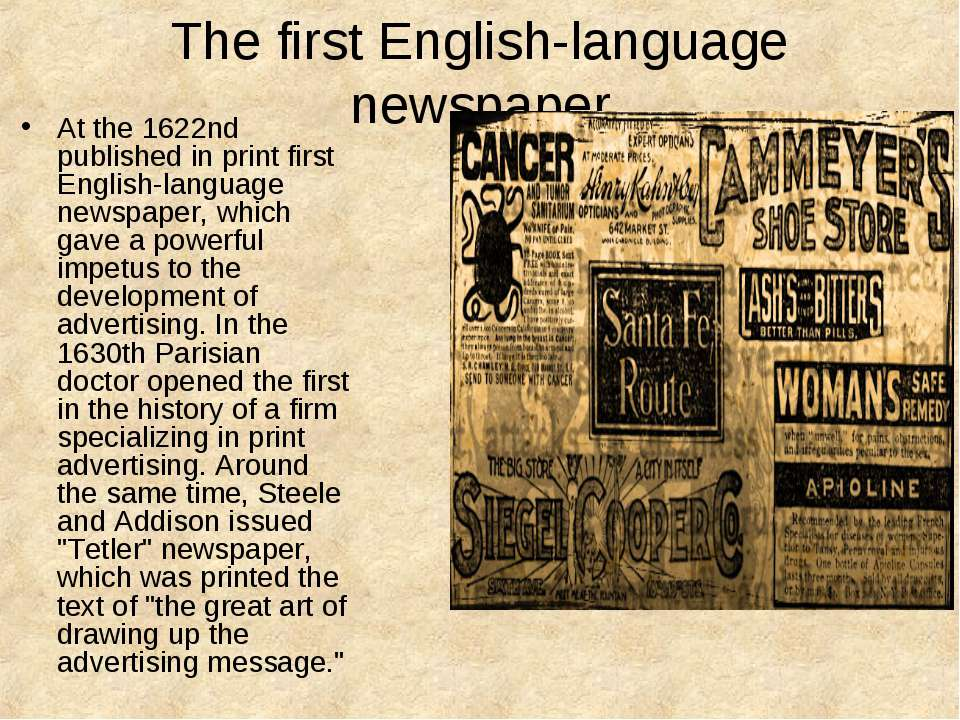 The first English-language newspaper At the 1622nd published in print first E...