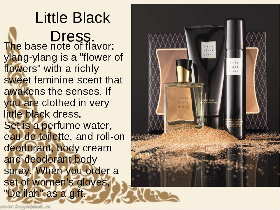 "Little Black Dress. The base note of flavor: ylang-ylang is a ""flower of flow..."