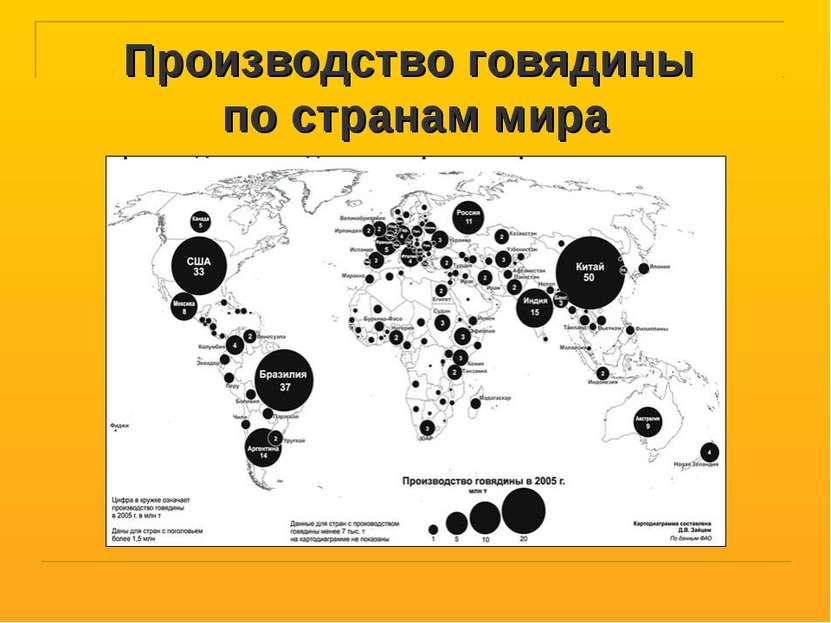 Производство говядины по странам мира