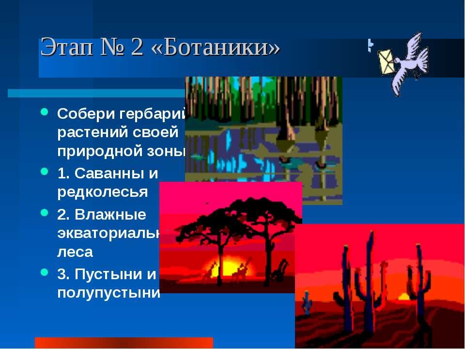 Этап № 2 «Ботаники» Собери гербарий растений своей природной зоны: 1. Саванны...