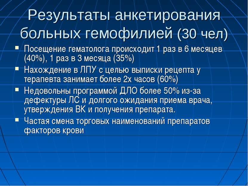 Результаты анкетирования больных гемофилией (30 чел) Посещение гематолога про...