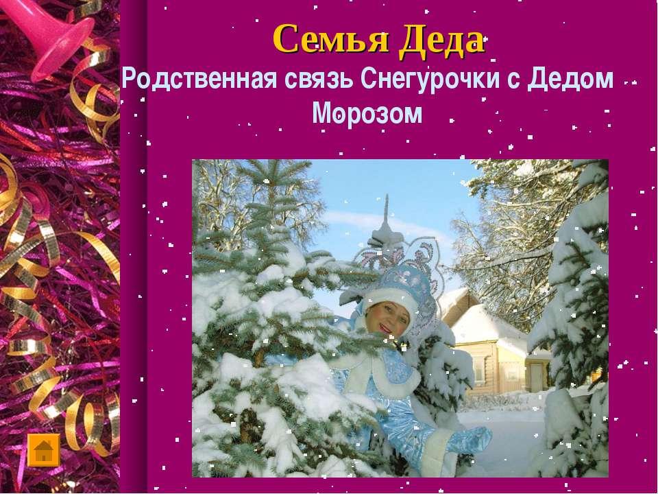 Семья Деда Родственная связь Снегурочки с Дедом Морозом