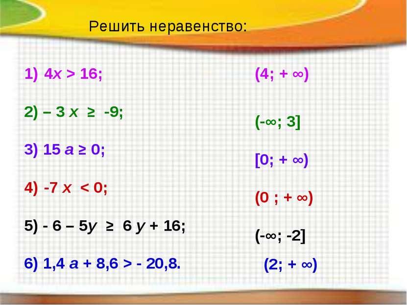 Решить неравенство: 4х > 16; 2) – 3 x ≥ -9; 3) 15 a ≥ 0; -7 x < 0; 5) - 6 – 5...