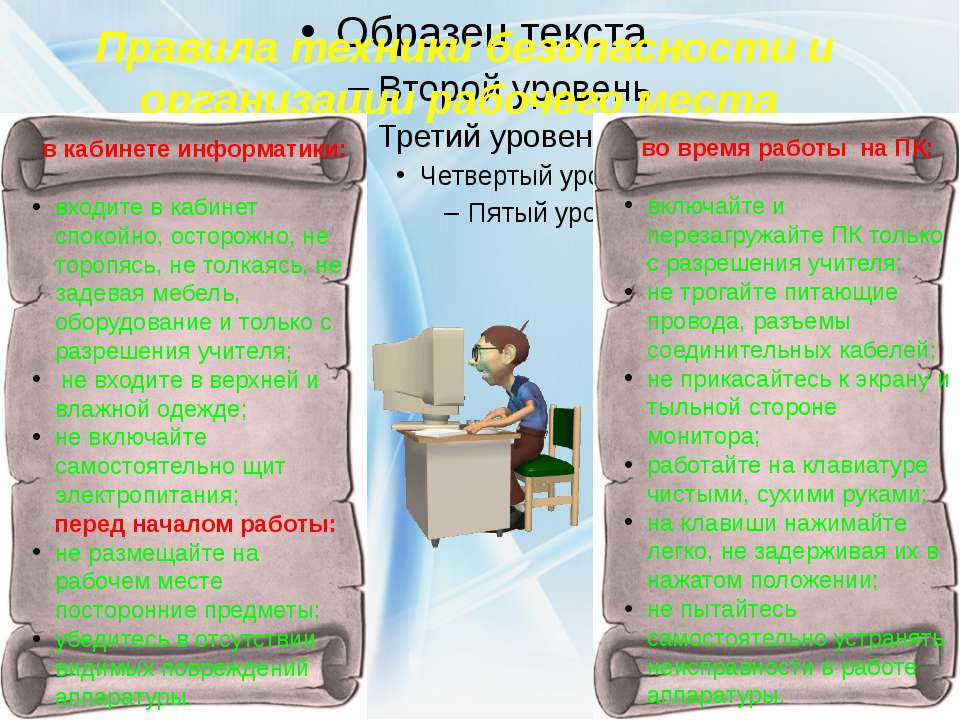 Правила техники безопасности и организации рабочего места в кабинете информат...