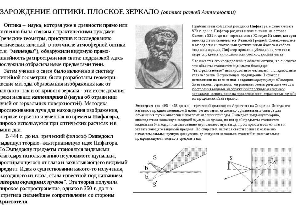 ЗАРОЖДЕНИЕ ОПТИКИ. ПЛОСКОЕ ЗЕРКАЛО (оптика ранней Античности) Оптика – наука,...