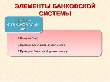 ЭЛЕМЕНТЫ БАНКОВСКОЙ СИСТЕМЫ Понятие банк Правила банковской деятельности Прин...