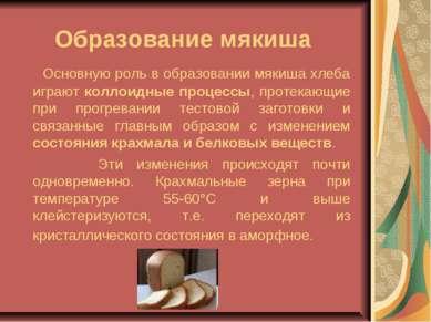 Образование мякиша Основную роль в образовании мякиша хлеба играют коллоидные...