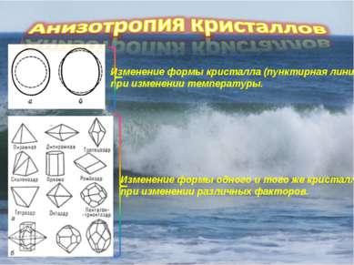 Изменение формы кристалла (пунктирная линия) при изменении температуры. Измен...
