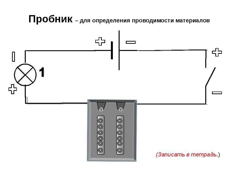 Пробник – для определения проводимости материалов (Записать в тетрадь.)