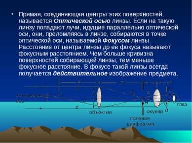Прямая, соединяющая центры этих поверхностей, называется Оптической осью линз...