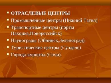 ОТРАСЛЕВЫЕ ЦЕНТРЫ Промышленные центры (Нижний Тагил) Транспортные центры (пор...