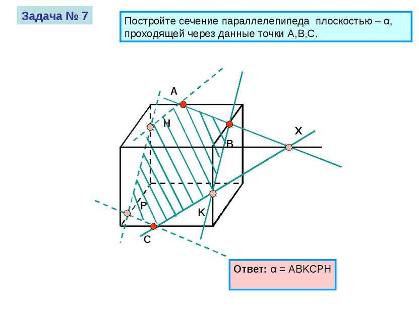 A B C Задача № 7 Постройте сечение параллелепипеда плоскостью – α, проходящей...