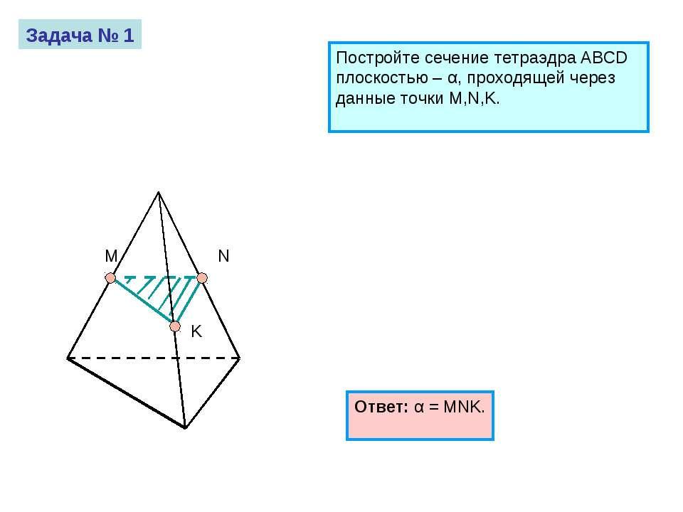 M N K Задача № 1 Постройте сечение тетраэдра ABCD плоскостью – α, проходящей ...