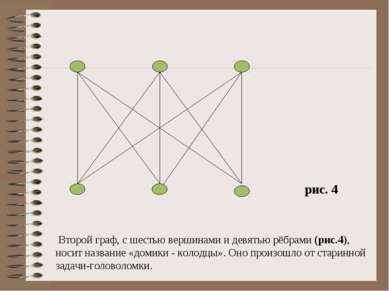 Второй граф, с шестью вершинами и девятью рёбрами (рис.4), носит название «до...