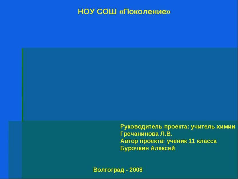 Руководитель проекта: учитель химии Гречанинова Л.В. Автор проекта: ученик 11...
