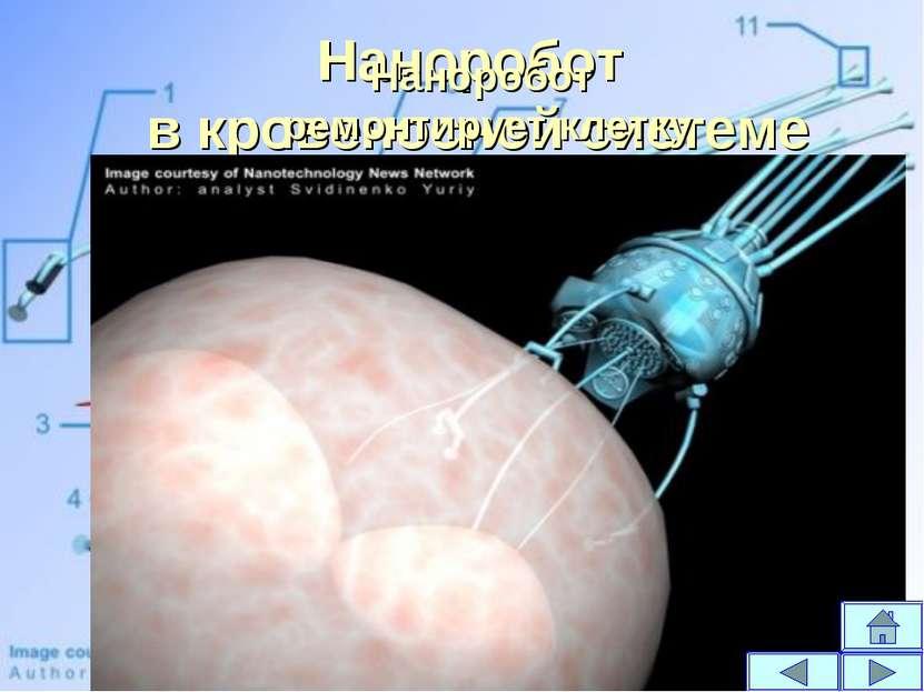 Наноробот в кровеносной системе Наноробот ремонтирует клетку