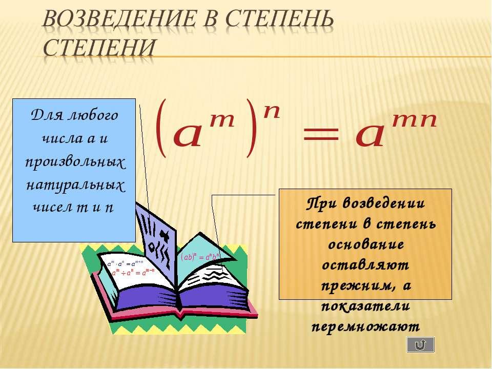 Для любого числа a и произвольных натуральных чисел m и n При возведении степ...