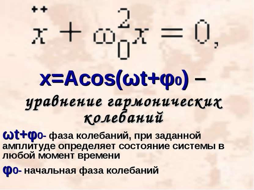 х=Acos(ωt+φ0) – уравнение гармонических колебаний ωt+φ0- фаза колебаний, при ...