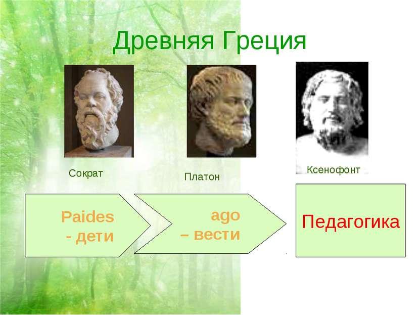 Древняя Греция Paides - дети ago – вести Педагогика Ксенофонт Платон Сократ