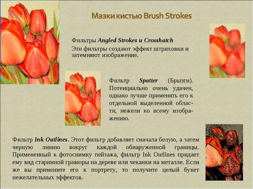 Фильтры Angled Strokes и Crosshatch Эти фильтры создают эффект штриховки и за...
