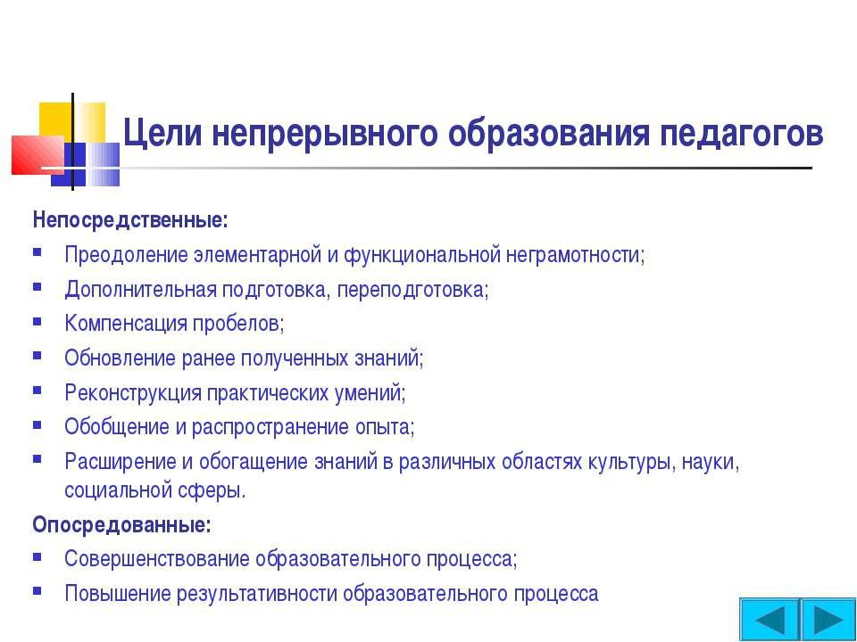 Цели непрерывного образования педагогов Непосредственные: Преодоление элемент...