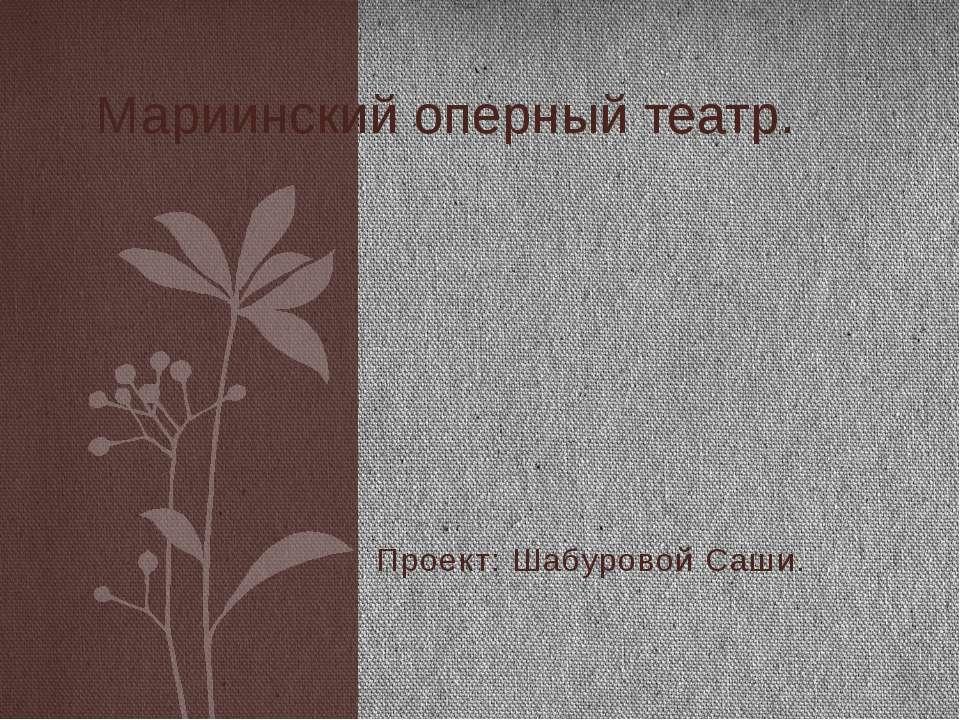 Проект: Шабуровой Саши. Мариинский оперный театр.
