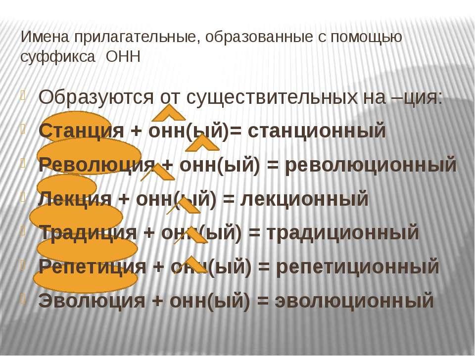 Имена прилагательные, образованные с помощью суффикса ОНН Образуются от сущес...