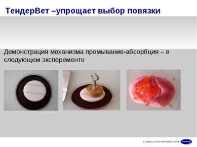 ТендерВет –упрощает выбор повязки Демонстрация механизма промывание-абсорбция...