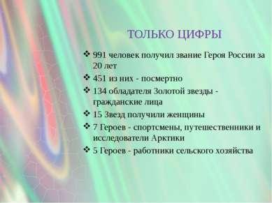 ТОЛЬКО ЦИФРЫ 991 человек получил звание Героя России за 20 лет 451 из них - п...