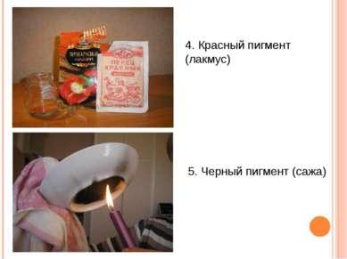 4. Красный пигмент (лакмус) 5. Черный пигмент (сажа)
