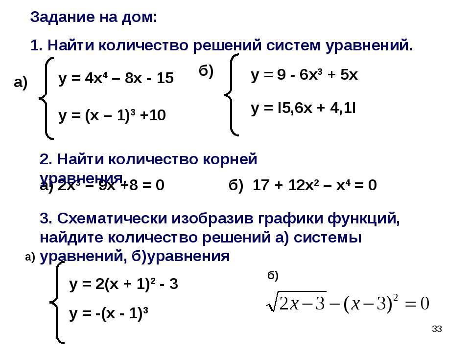 * Задание на дом: 1. Найти количество решений систем уравнений. у = 4х4 – 8х ...